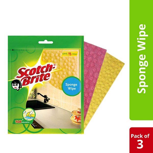 SCOTCH BRITE SPONGE WIPE (PACK OF 3)